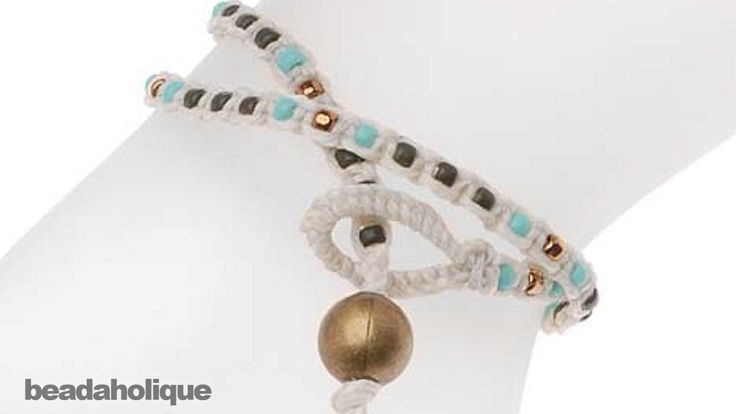How to make a knotted waxed linen wrap bracelet beads on