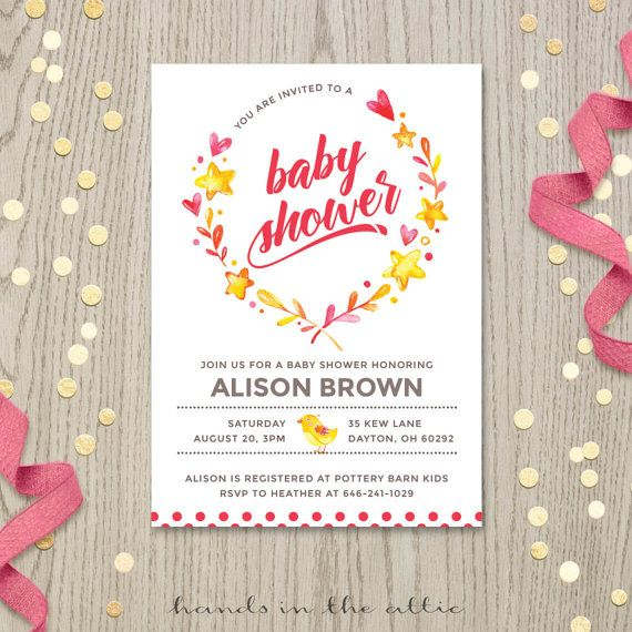 coed baby shower invitation couples baby shower invite diaper party bright pink yellow stars