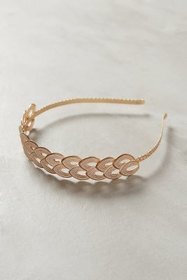 Coiffure mariage : Anthropologie  Anthropologie Double Leaf Gold Headband