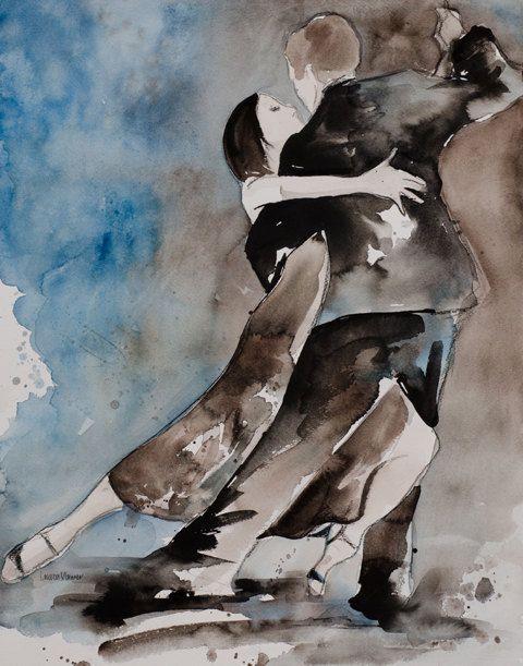 Tango Art Print Watercolor and Charcoal by LaurenMaurerStudio