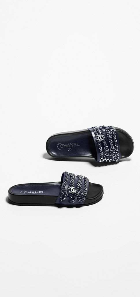 Mules, glazed calfskin-navy blue - CHANEL