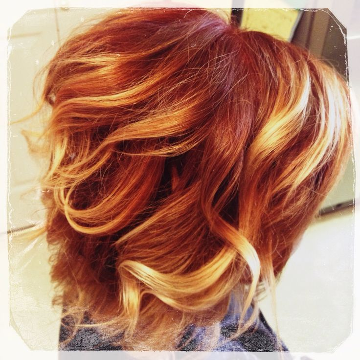 Copper base with honey balayage highlights.