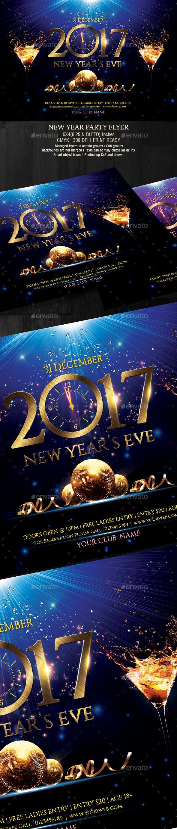 New Year Party Flyer. Download: https://graphicriver.net/item/new-year-party-flyer/19112972?ref=thanhdesign