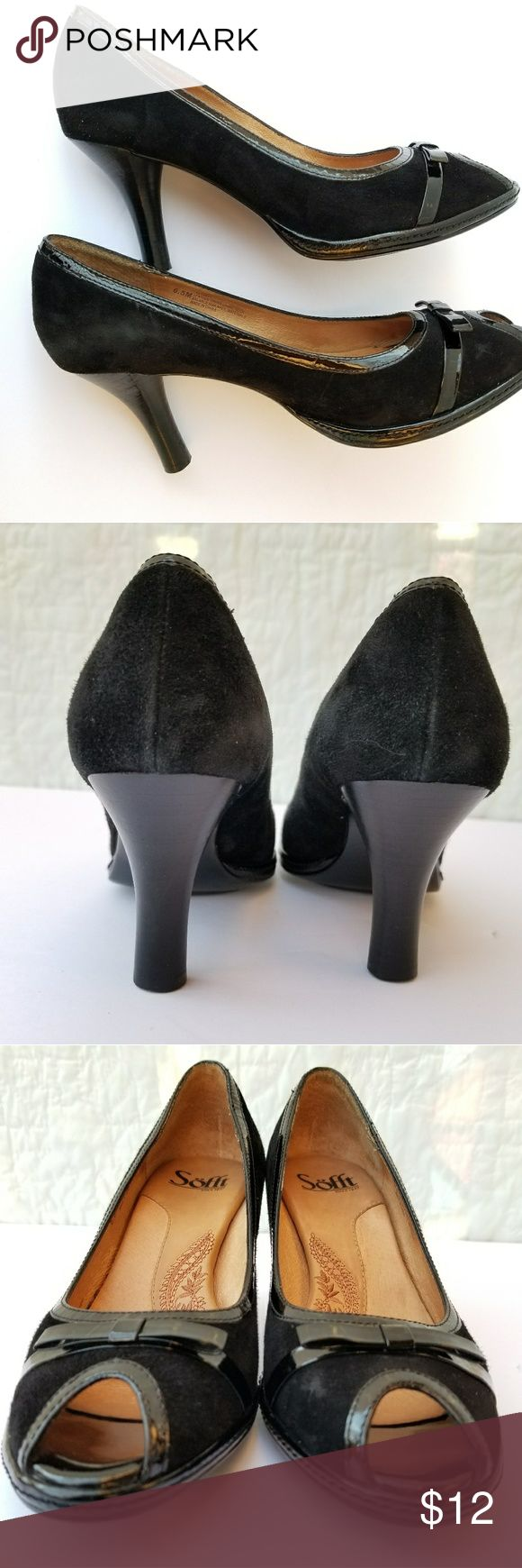 Sofft Suede open toe pumps with Bow Black suede open toed pump with patent leather bow and trim. Sofft Shoes Heels