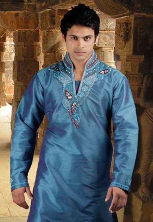Turquiose Blue Banarasi Brocade & Dupion Silk Readymade Kurta with Churidar