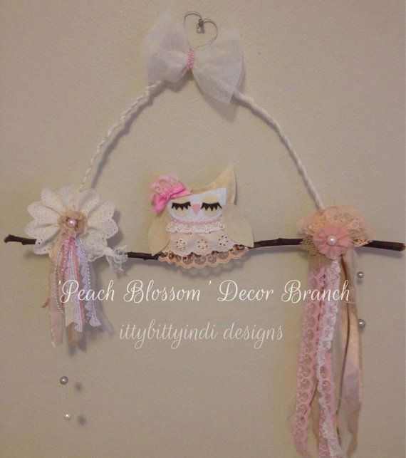 Peach Blossom decorative owl on branch bedroom / nursery handmade wall art hanging mobile