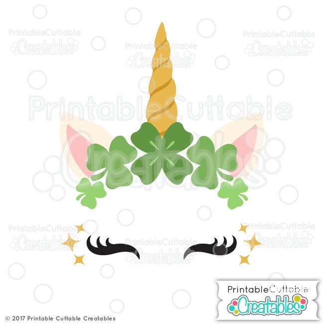 St. Patrick's Day Clover Unicorn Face Free SVG File & Clipart - Shamrock Unicorn Face DXF, SVG files for Silhouette Cameo, Cricut cutting machine. St. Patrick's Day Clovers Unicorn SVG File for scrapbooking, paper crafts, vinyl crafts.