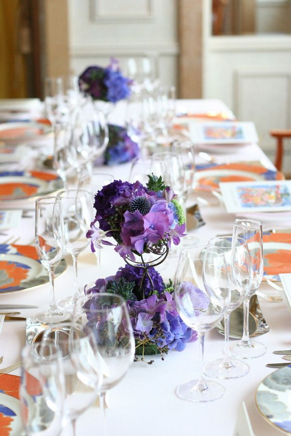 濃紫とライムグリーンのゲストテーブル装花 シェ松尾天王洲倶楽部さまへの画像:一会 ウエディングの花