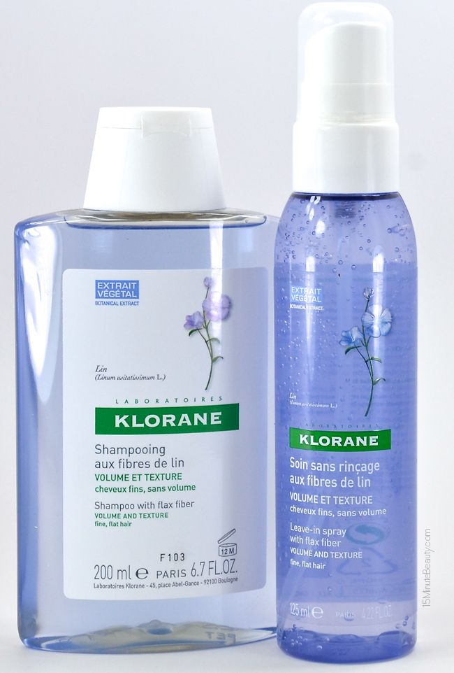 Instant Volume: Klorane with Flax Fiber Shampoo and Leave-In Spray Review via @15 Minute Beauty