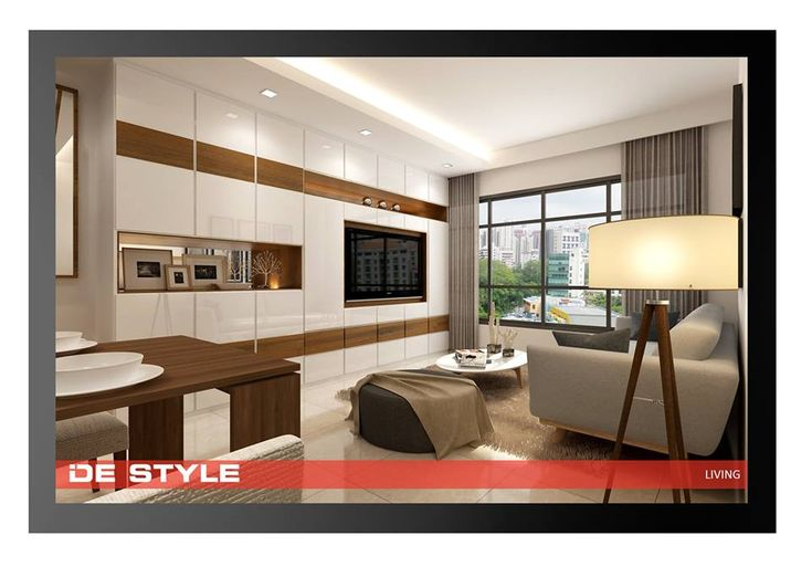 De Style Interior Modern Living Area Full Cabinet Tv