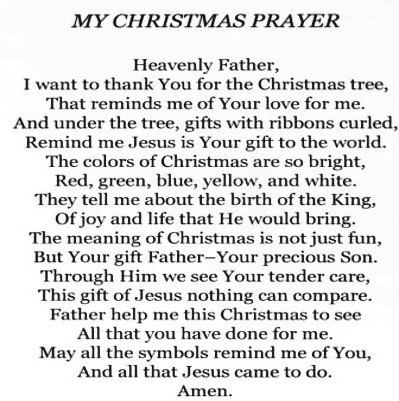 Christmas prayer, just gets me right in the Christmas spirit!