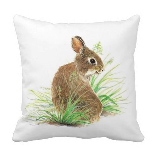 Decorative Pillows With Rabbits : Cute Bunny Rabbit, Watercolor Nature, Wildlife Pillows #zazzle #homedecor Animals - Rabbit ...