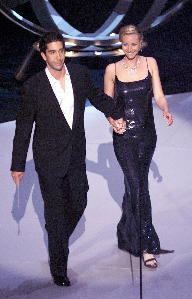 "Look at David Schwimmer and Lisa Kudrow being adorable at the 1999 Emmy Awards. | 27 Photos Of The ""Friends"" Cast Being Friends In Real Life"
