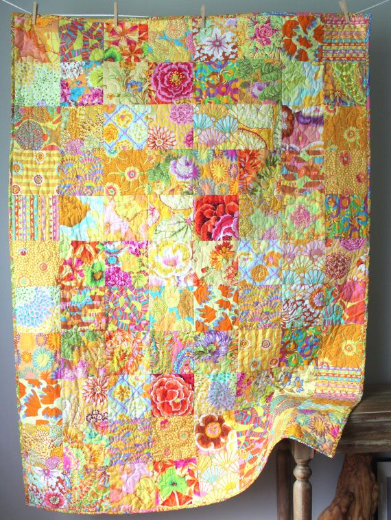 Modern Lap Quilt- Sunshine Yellow Kaffe Fassett This quilt is completed and ready to ship to you! This unique, vibrant lap quilt features 30