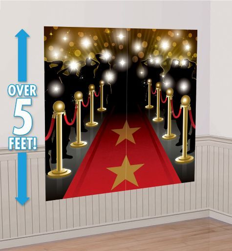 Hollywood Scene Setter - Party City $5.99 The red, black and gold colorway is just the thing for a Hollywood party! Hang this sturdy vinyl wall decoration indoors or out using Sticky Tack (sold separately) or double-sided tape. Our glamorous Hollywood Scene Setter comes with 2 panels, each measuring 32 1/2in wide x 65in tall.