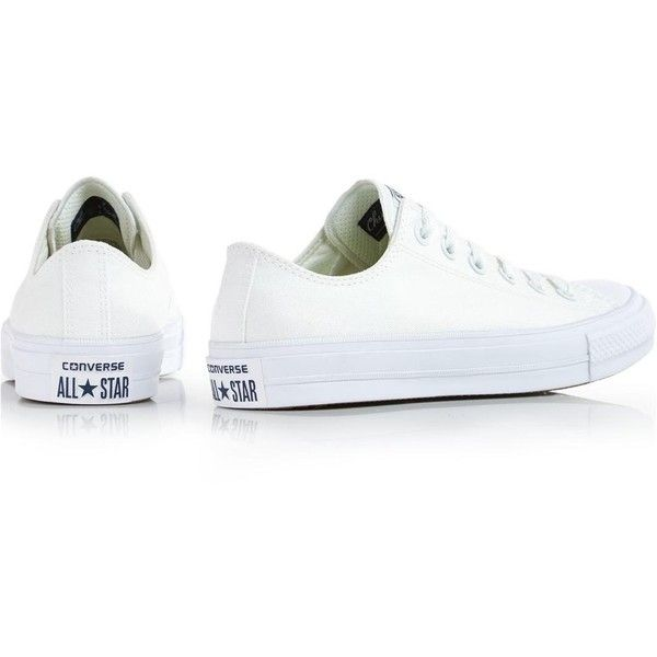 Converse Chuck Taylor All Star Ii Low Top Trainers (€62) ❤ liked on Polyvore featuring shoes, sneakers, converse trainers, white shoes, low profile sneakers, converse footwear and white trainers