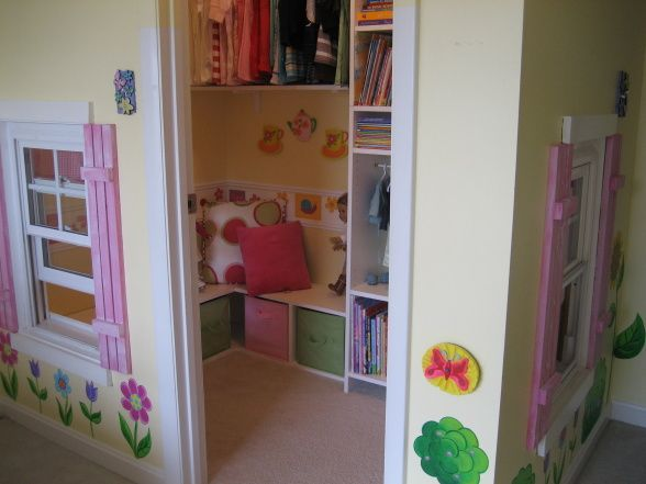 Walk-in closet turned playhouse for a little girl's room