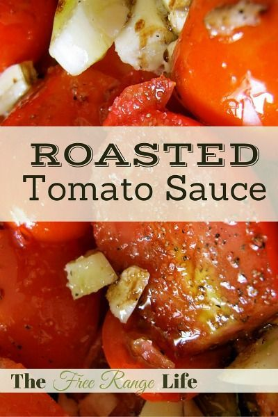 This Roasted Tomato Sauce is soooo easy. No peeling, blanching, deseeding. Just throw everything in the roasting pan together. Simple, amazing, and no-waste