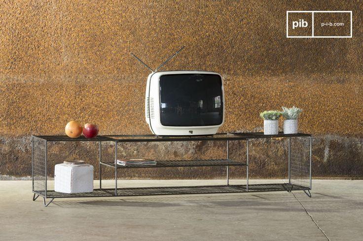 Un Mueble TV vintage que se puede colocar en cualquier interior industrial.
