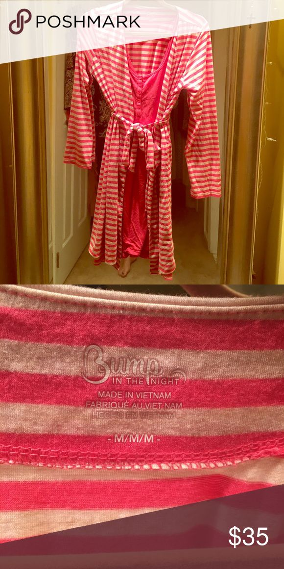 Maternity nighty with matching robe Made from polyester rayon and spandex...buttons in front allow for easy access for bf little one 👶purchased at bye bye baby nighty has a little wear but the robe was never worn Intimates & Sleepwear Robes