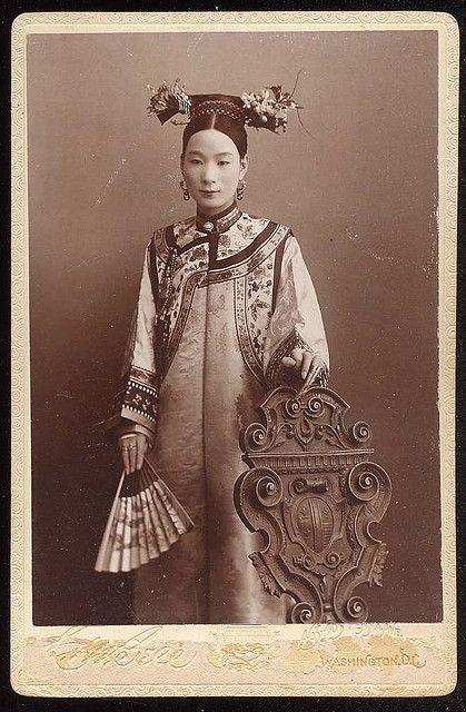 """Wife of the Chinese Ambassador to the US, 1895. Inscribed on back """"To Miss May H. Morgan, from her friend Mrs. Yang. Washington May 28th 1895"""". Miss Morgan was the daughter of Secretary of Treasury Daniel Morgan. Photo by C.W. Bell of Washington D.C."""