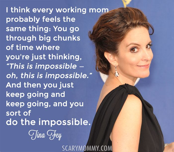 Every mom can TOTALLY relate to these fabulous and funny quotes about motherhood and pregnancy from celebrities - like this inspirational one from Tina Fey via Scary Mommy