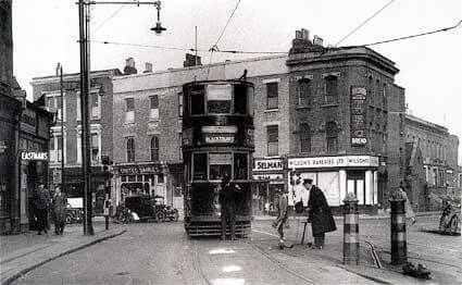 Coldharbour Lane and Denmark Hill junction, Brixton, 1950
