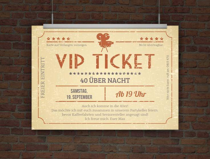 Einladungskarte VIP Ticket Retro