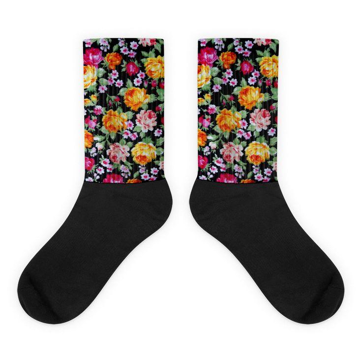 Black foot socks - Floral                      – ShopFlexy