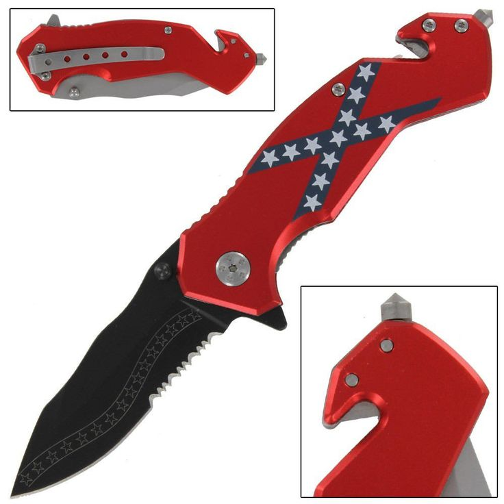 Confederate States Rebel Flag Tactical Folding Assist Emergency Pocket Knife via Knife Hub. Click on the image to see more!
