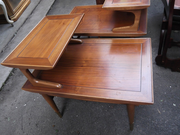 A Pair Of Vintage Solid Maple Mid Century Modern Step Down End Tables By  Lane.