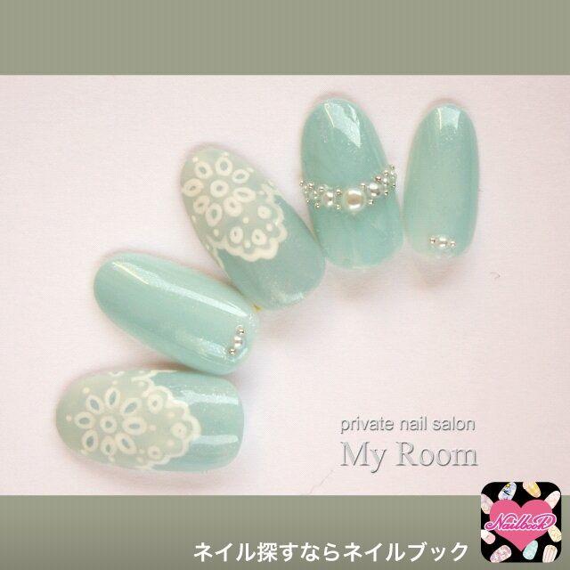 ネイル 画像 マイルーム My Room~private nail salon~ 品川 932009 ブルー レース 春 ソフトジェル ハンド