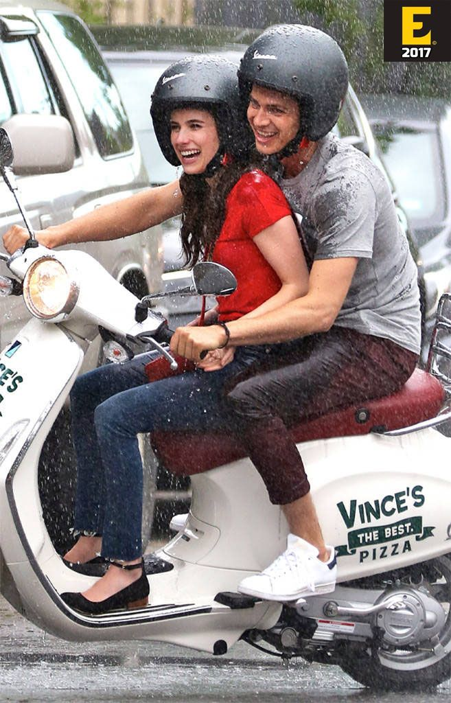 Emma Roberts and Hayden Christensen having a blast while riding a Vespa scooter and filming scenes for Little Italy in Toronto, Canada