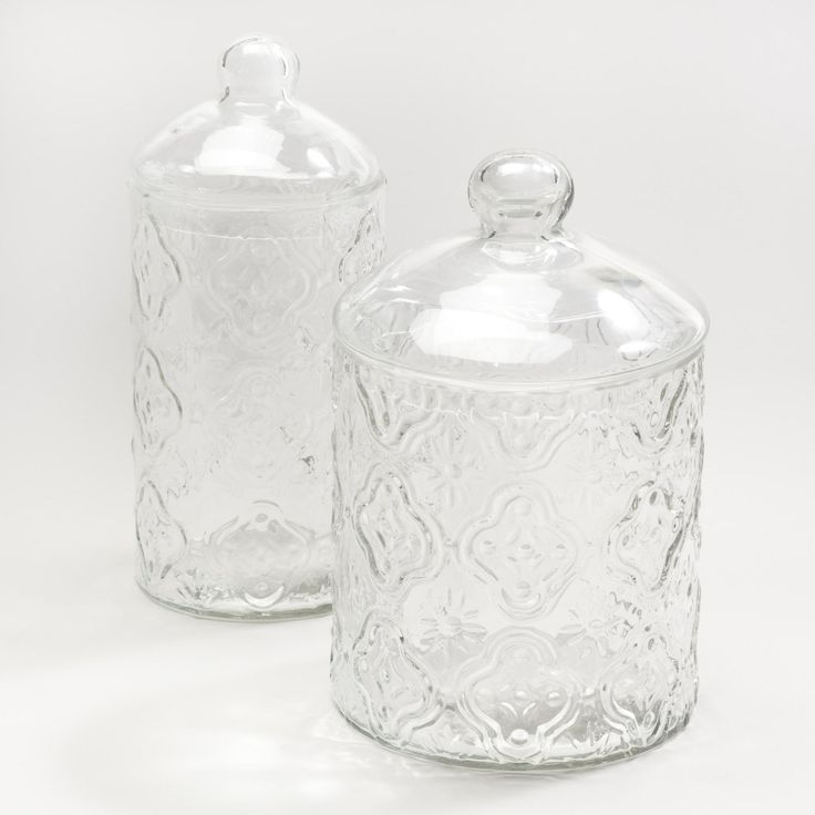 Clear Tile Glass Canisters-Clear Tile Glass Canisters | World Market $7.99-$9.99