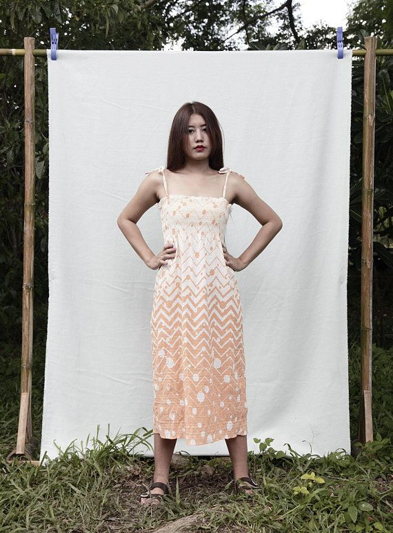 c4ff8d4d82f 70s vintage orange and cream summer dress