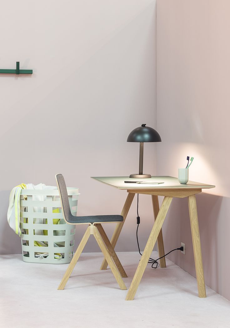 CPH Deux chair and desk, Cloche lamp, Paper Porcelain mug with Tann toothbrush and Laundry basket.
