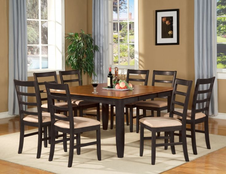 9 PC Square Dinette Dining Table And 8 Chairs In Black Cherry Finish