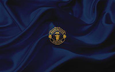 Download wallpapers Manchester United, Premier League, football, MU emblem, England, blue silk