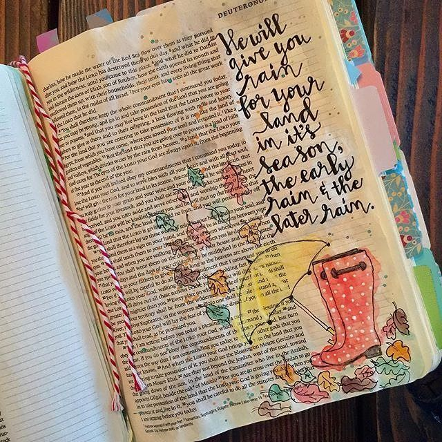 What a super fun fall Bible journaling idea! Simple illustrations and beautiful hand lettering with a dash of watercolor, my favorite combo! ---
