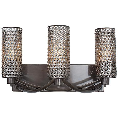 "Varaluz Casablanca 17"" Wide Hand-Applied Steel Bath Light"