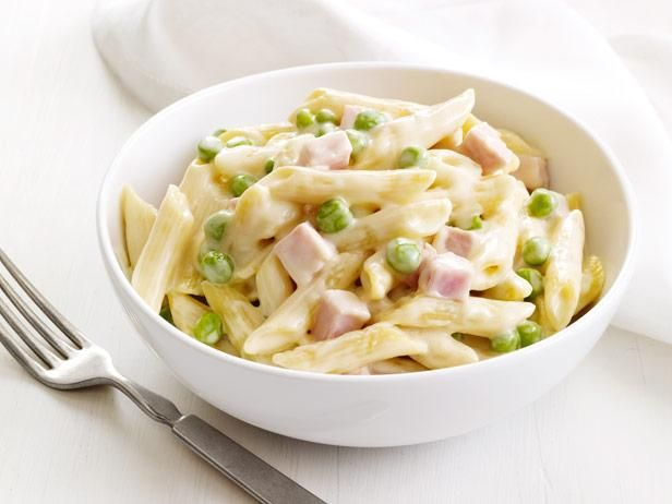 Four-cheese Pasta with Peas and Ham #FNMagFood Network, Easy Recipe, Weeknight Dinner, Hams Recipe, Four Chees Pasta, Ham Recipes, Four Cheese Pasta, Comforters Food, Peas