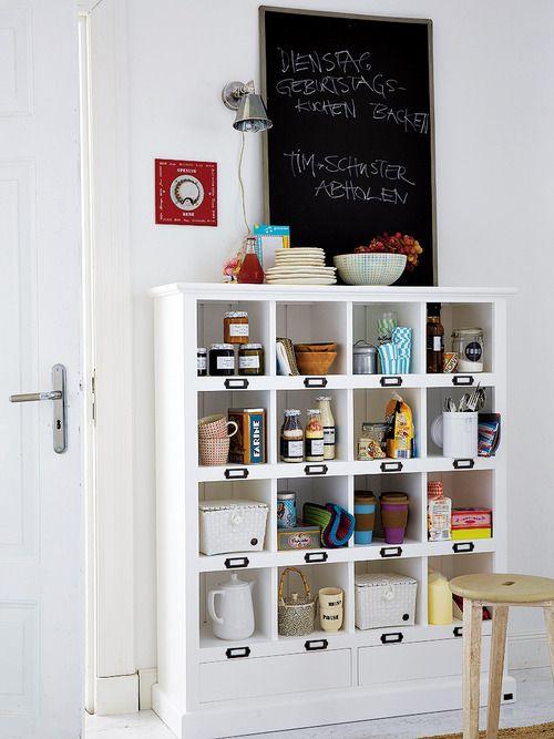 open shelves & chalkboard for the paintry (via Mi Casa...