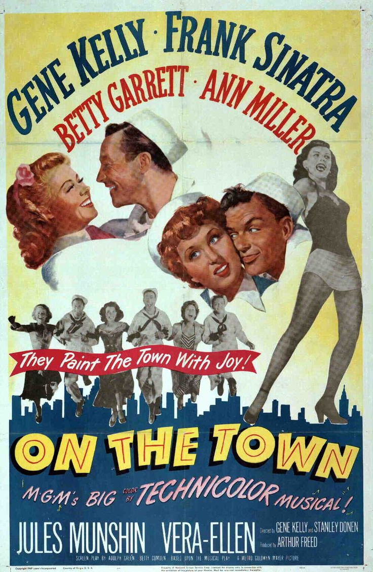 Check out this image from TCM.   One-sheet poster featuring Vera-Ellen as Ivy Smith, Jules Munshin as Ozzie, Gene Kelly as Gaby, Betty Garrett as Brunhilde Esterhazy, Frank Sinatra as Chip and Ann Miller as Clair Huddesen.