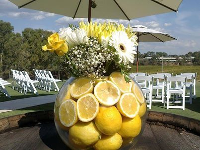 A wonderfully creative floral arrangment at RiverBank Estate