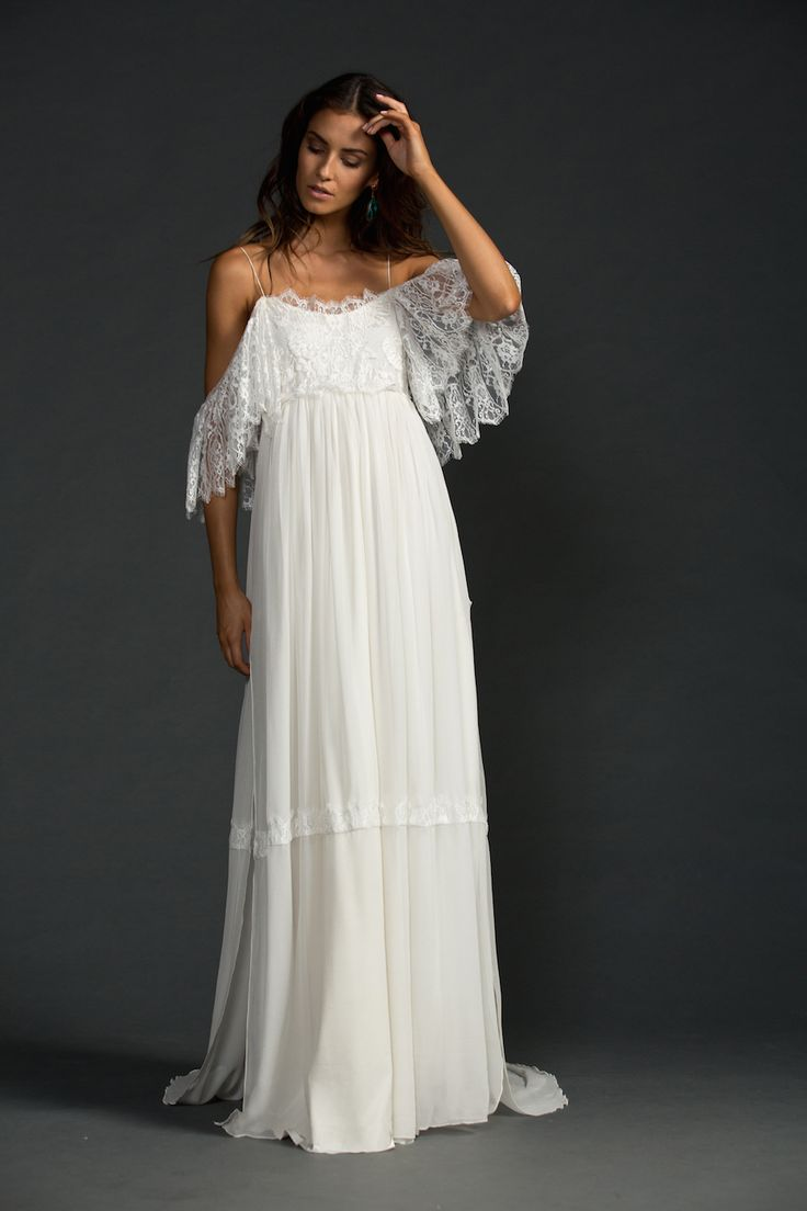 A spectacular dress for the bohemian beauties and the pure romantics. Colette features fitted stretch French lace cups with stretch spaghetti straps with statement sheer lace sleeves that can be worn on or off the shoulder. A smouldering low back compliments the silk chiffon skirt that falls naturally from under the bust. Alternatively you can wrap our …