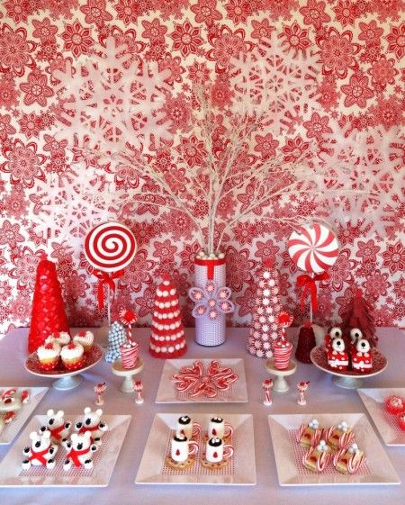 Christmas dessert buffet (love the marshmallows made to look like hot chocolate!)