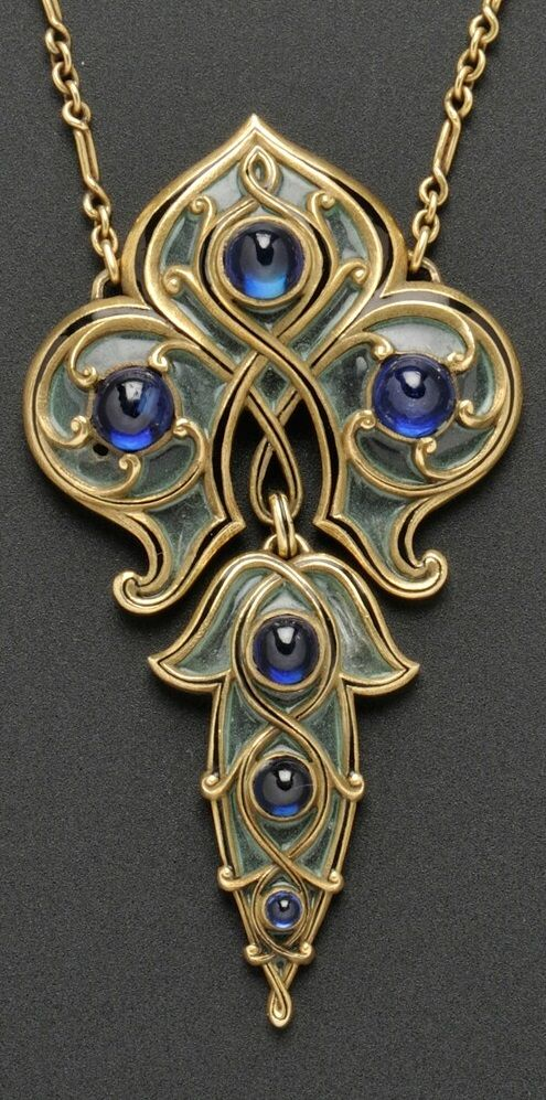 Marcus & Co. - An Art Nouveau Gold, Sapphire, and Plique-à-Jour Enamel Pendant. The shaped pendant with plique-à-jour enamel panels with black tracery enamel accents, set with cabochon sapphires, and suspended from paperclip-link chain, lg. 2 1/2 in., signed. #Marcus #ArtNouveau #pendant