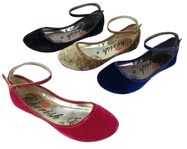 Nuevo Para mujeres Terciopelo Ballet Zapatos Taco Plano Con Correa en el tobillo 4 Colores Tallas 5.5 - 10