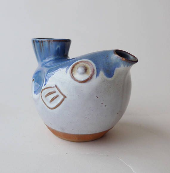 VINTAGE 1960 Lovely Blue and White Pottery Sauce / Oil / Soy