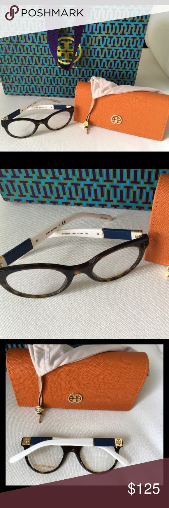Tory Burch Frames NWT Beautiful tortoise shell Eyewear with white and navy arms. Clear lenses; ready for fashion statement or prescription lenses. Tory Burch Accessories Glasses